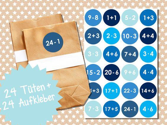 Adventskalender - Tüten und Aufleber von Papierdrachen by Silberfädchen auf DaWanda.com
