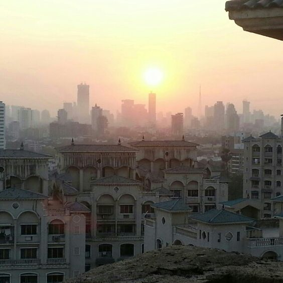 A view of the setting sun taken from the terrace of a building in Dosti Acres in Wadala,  Mumbai