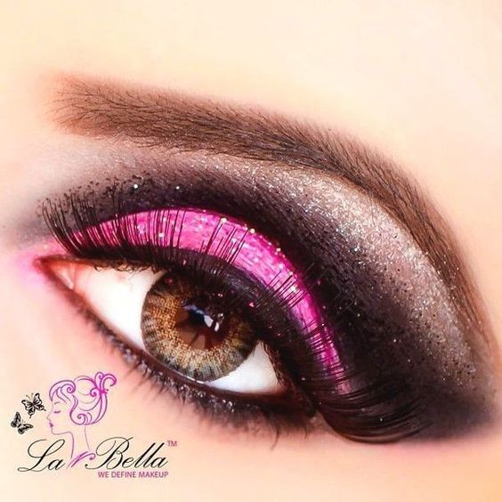 Hot Pink Eye Makeup For Gorgeous Ladies! ❤ liked on Polyvore featuring beauty products, makeup and eye makeup
