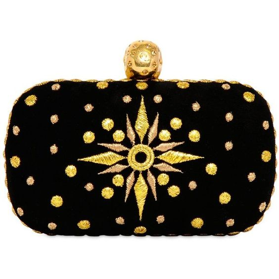 ALEXANDER MCQUEEN Embroidered Suede Skull Box Clutch (¥145,955) ❤ liked on Polyvore featuring bags, handbags, clutches, purses, skull clutches, black box clutch, pochette and black suede handbag