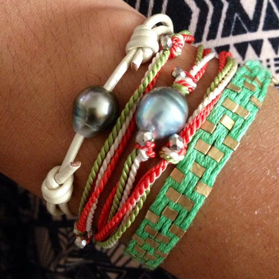 old school pearl. love. Tahitian pearl, leather and silk bracelets