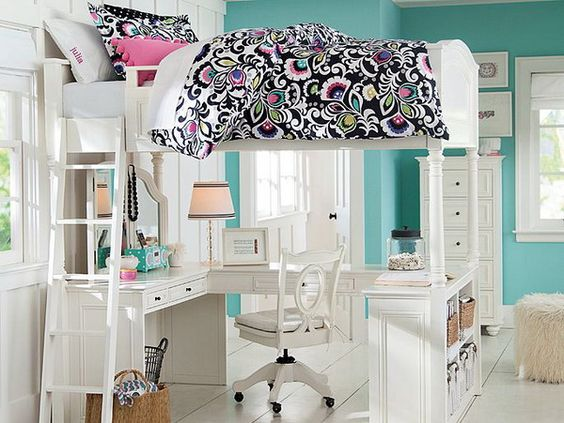 fascinating teenage girl bedrooms bunk bed | Girls Bedroom Ideas with Loft Bed and Study Area | Loft ...