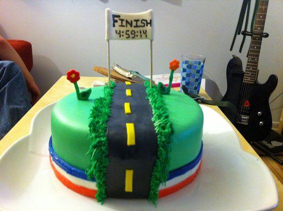 Marathon finisher cake... such a great idea! #running: Running Themed Cake, Runner Cake, Cake Inspiration, Cake Ideas, Marathon Cake, Party Ideas, Birthday Cakes