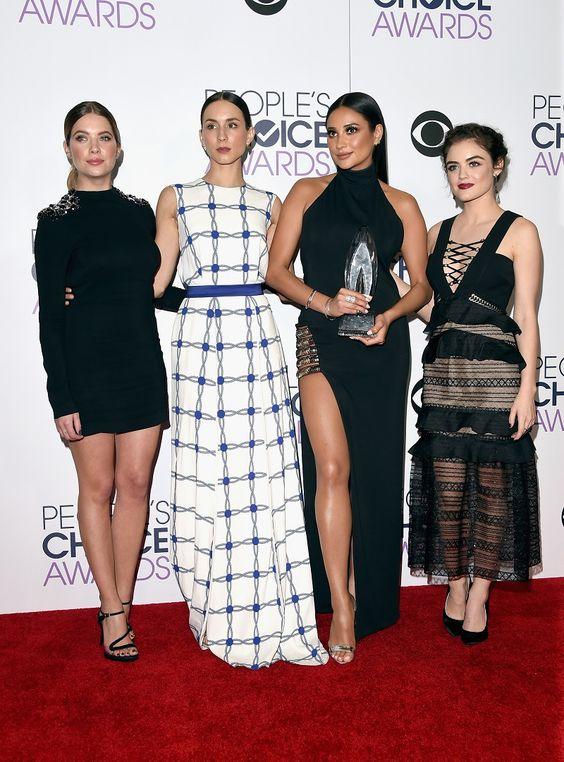 Shay Mitchell black dress | PLL Actresses Fashion