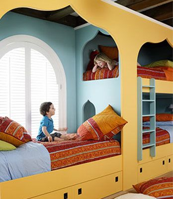 Bunk Beds - alternative to the other idea with four on a wall.  this one incorporates a window....
