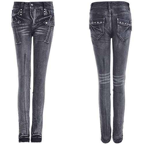 Women Black Studded Frayed Punk Rock Fashion Skinny Jeans SKU-11404454