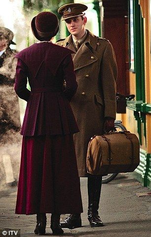 -if i ever go to a train station for a trip, i will be wearing a lttle something like this- Lady Mary Crawley with Matthew Crawley at the Train Station: Monochromatic layers, pixie coat, and all things aubergine.: