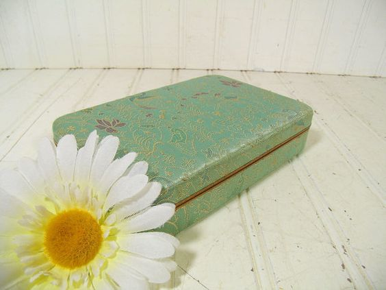 Antique Mint Green & Gold Damask Metal Jewelry Case - Vintage Floral Fabric Covered Jewelry Box - Aqua Sea Foam Satin Velvet Interior Chest $24.00 by DivineOrders