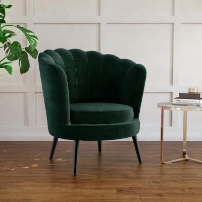 Chantal Scallop Velvet Accent Chair Velvet Accent Chair Accent Chairs Green Accent Chair