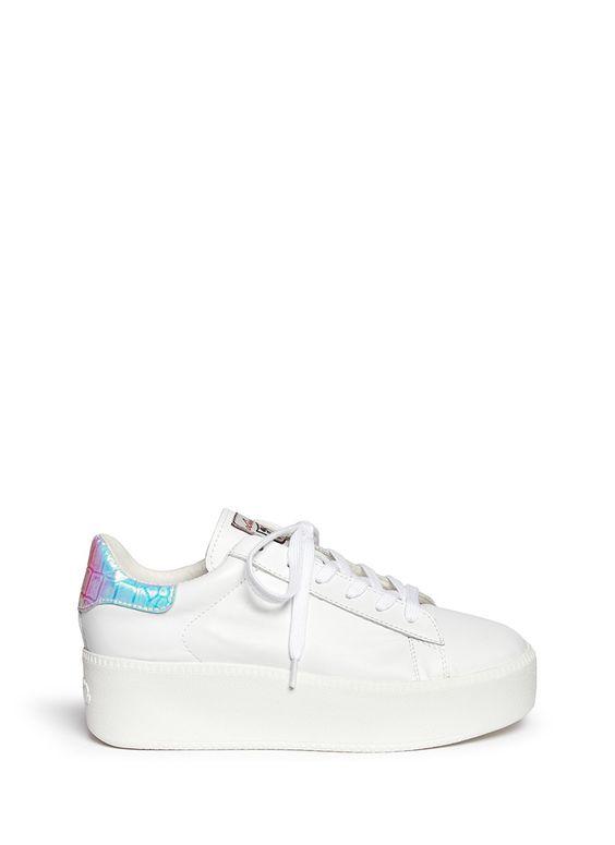 ASH - 'Cult' holographic trim leather flatform sneakers - on SALE | White Platform Mid Heels | Womenswear | Lane Crawford - Shop Designer Brands Online: