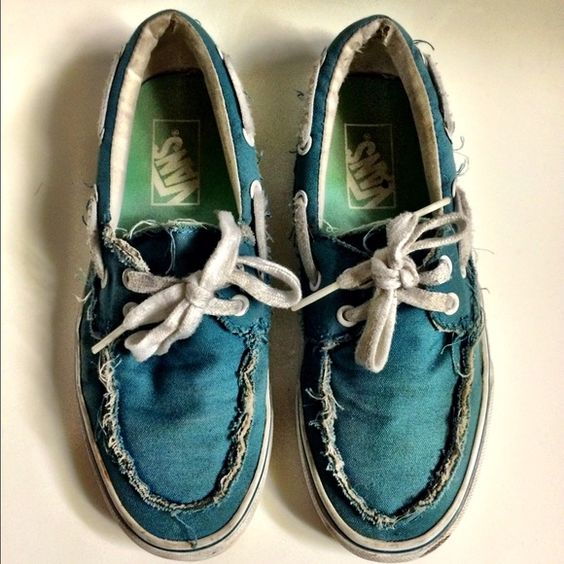 VANS Distressed Blue Teal Boat Lace Shoes Sneakers | D, Teal and Lace