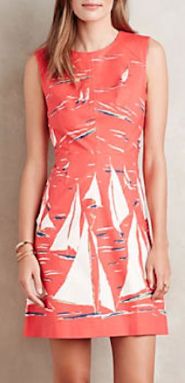 darling sailboat print poplin dress