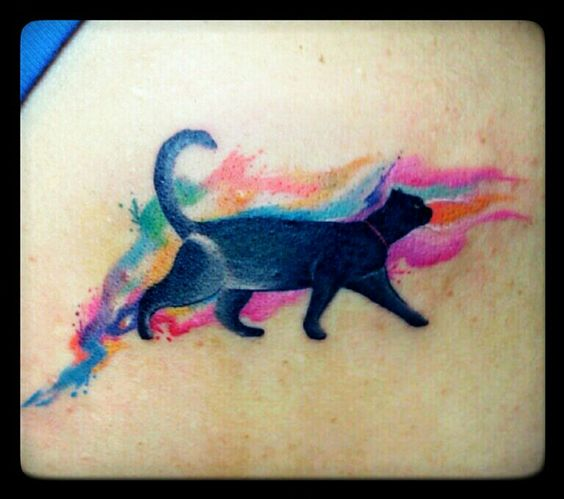 Watercolor cat tattoo by Jhay Colis 55 Tinta, Maginhawa Street, Quezon City, Manila Philippines only make the cat orange