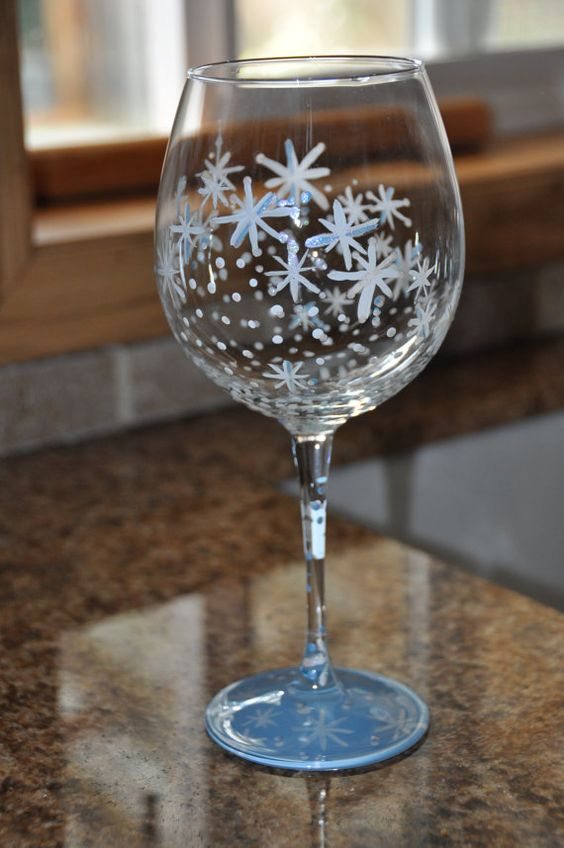 Hand Painted Snowflake Wine Glass by AllThatShinesDesigns ...