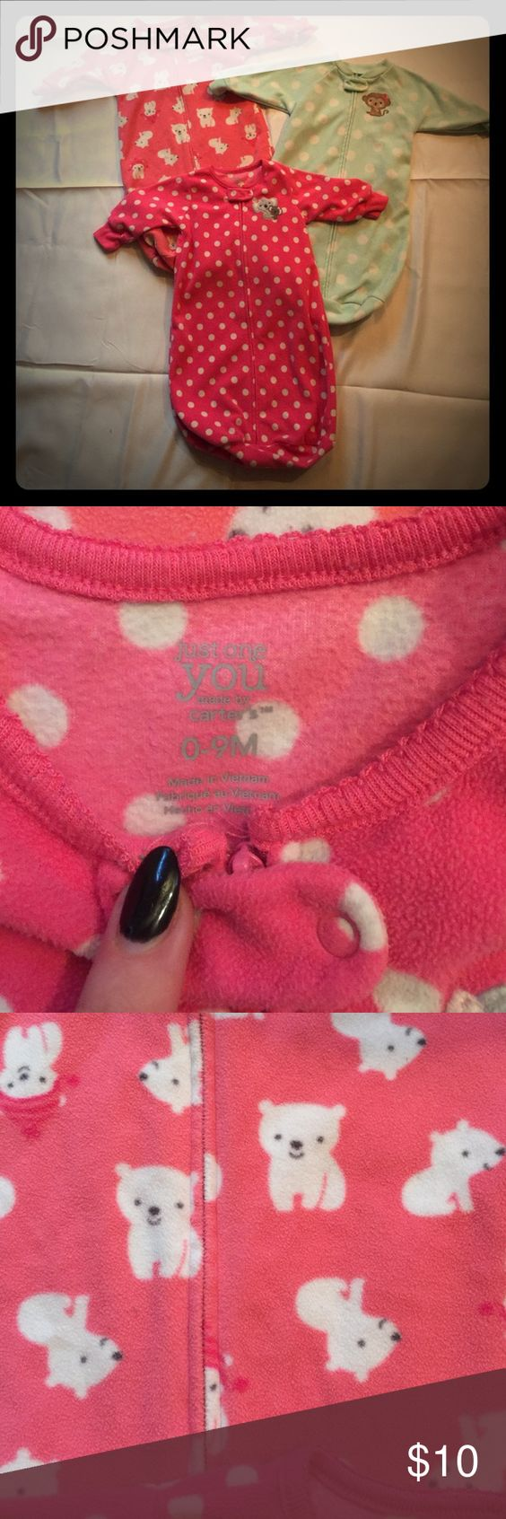 Sleep sac LOT of 3 pieces👑 CARTERS child of mine little baby girls sleep sac lot of three pieces. Previously used, please review pictures. These sac are life savers!! When the babies are to young for blankets, this helps them stay warm and get a solid night sleep💁🏼💗🙏🏼💤 carters Pajamas Sleep Sacks