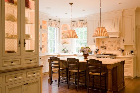 Great Kitchen, stained wood island