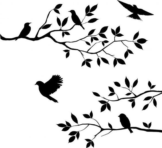 Trees Stencils Printables Free | Tree Branch Stencil Birds and blossoms tree branch