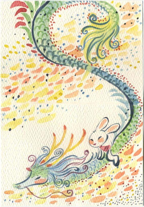 Dragon Watercolor Character Design