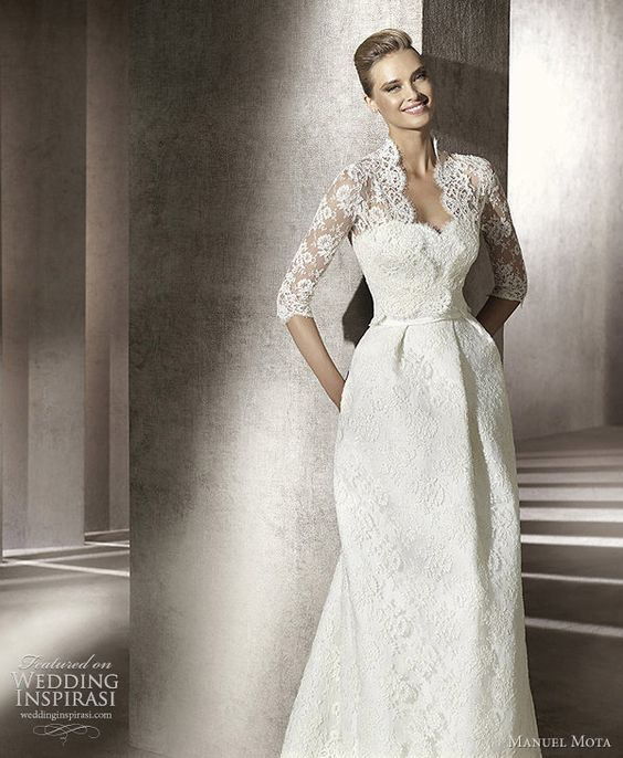 Simple Elegant Modest Lace Wedding Dress With Scallop Lace: Manuel Mota Wedding Dresses 2012