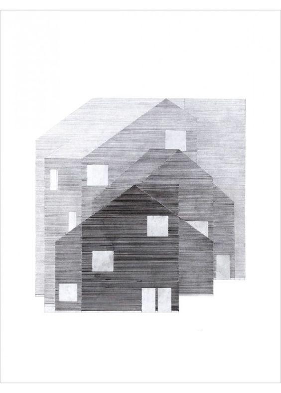 Déco Scandinave - Affiche de Dessin d'architecture en noir et blanc