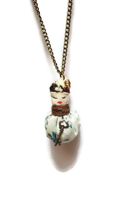 Steampunk flowery creature pendant - fabric pendant - tiny creature - cute necklace - quirky pendant - cute pendant -creature charm - OOAK