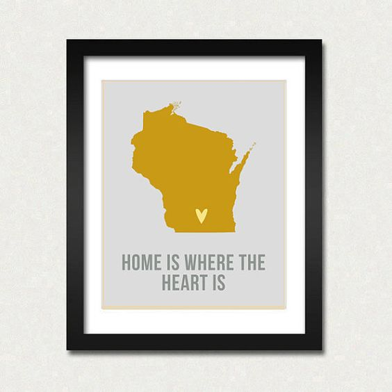 Wisconsin Home is Art Print 8 x 10 inch Travel Map I heart USA – Wisconsin Travel Map
