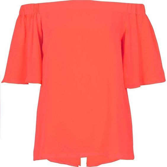 River Island Coral bardot top (£25) ❤ liked on Polyvore featuring tops, orange, short sleeve tops, flutter-sleeve top, red ruffle top, cold shoulder tops and red short sleeve top