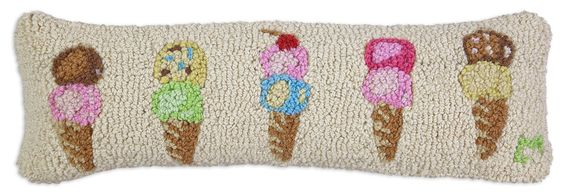 Summer Scoops Ice Cream Hand Hooked Wool Pillow