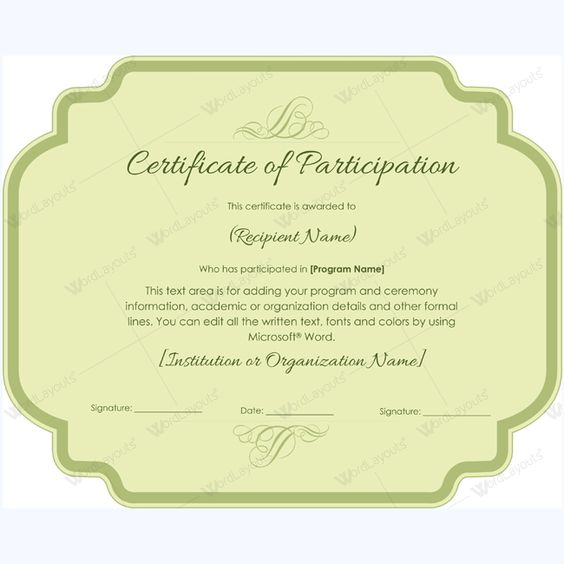 Spelling Bee Participation Certificate Templates #certificate - certificate of participation template word