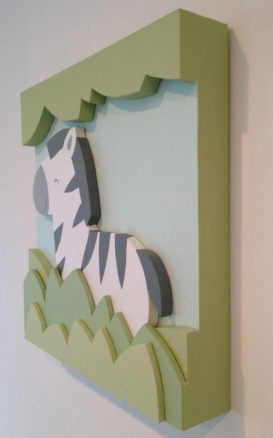 Safari de la cebra 3D niños sala arte arte de pared por EleosStudio