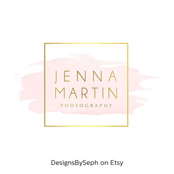 Pre-made Logo Design & Photo Watermark - Watercolor logo - Blog Header - Website Logo - Gold Logo - Square Watermark - Photography Logo 762