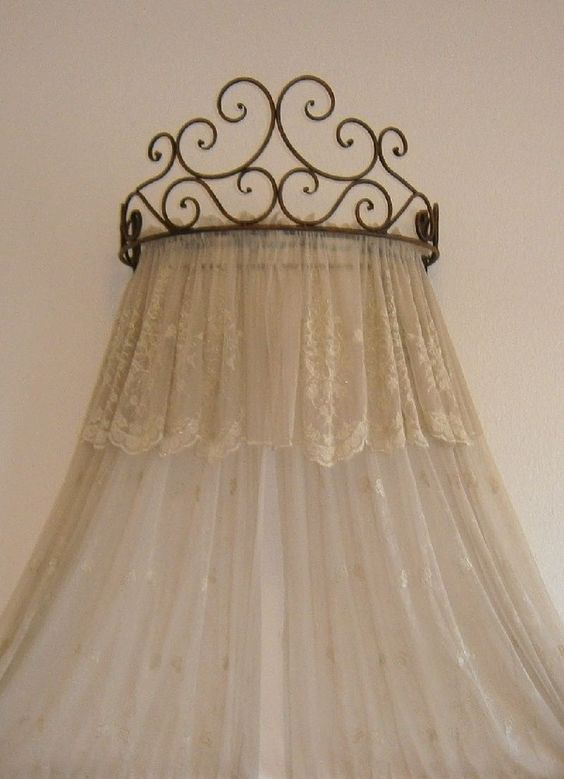 Details About Metal Iron Wall Teester Bed Canopy Drapery