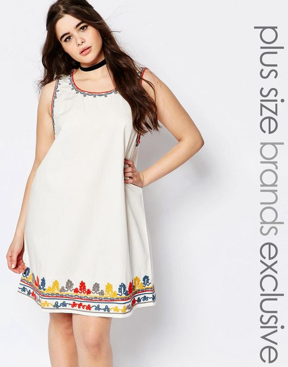 Buy it now. Alice & You Heavily Embroidered Shift Dress - White. Plus-size dress by Alice & You Lightweight woven cotton Boho styling Round neckline Embroidered filigree details Relaxed fit Hand wash 100% Cotton Our model wears a UK 18/EU 46/US 14 and is 173 cm/5'8 tall Exclusive to ASOS , vestidoinformal, casual, camiseta, playeros, informales, túnica, estilocamiseta, camisola, vestidodealgodón, vestidosdealgodón, verano, informal, playa, playero, capa, capas, vestidobabydoll, camisole…
