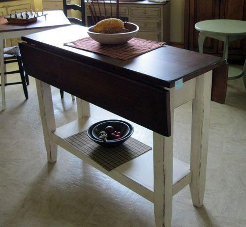 Kitchen Islands From All Our Amish Craftsman I Love How This Small Table Has Fold Down Leav Kitchen Island Table Dining Table With Storage Narrow Dining Tables