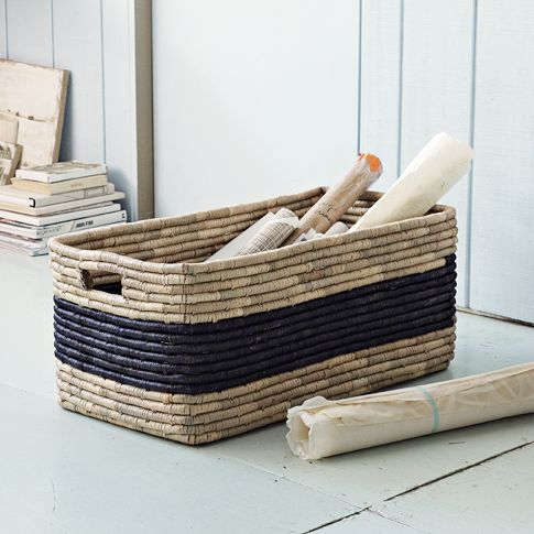Patterned Basket - Oversized | west elm  I like this for entryway for shoes. like the black accent.  129.  30 w x 15.75d x 12.6h