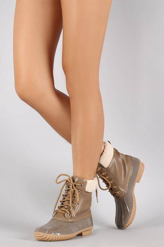 Faux Shearling Ankle cuff Lace Up Duck Booties