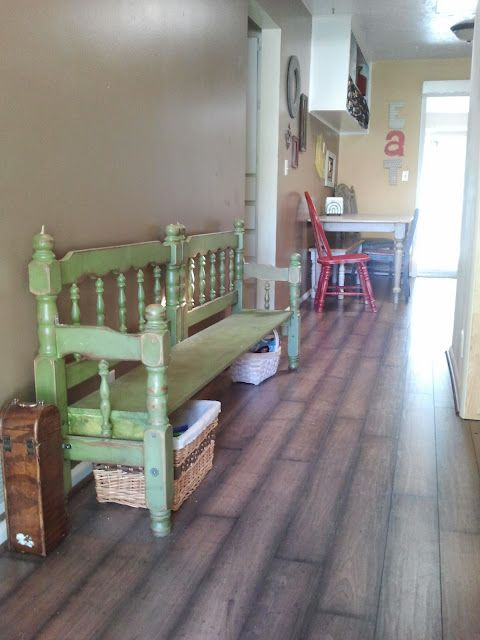 Beautiful bench made from an old wooden twin bed frame. By Drab to Fab