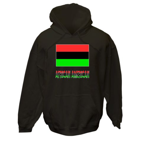 """Design features the Flag of the African Diaspora, often called the African American Flag, with the words """"AFRICAN AMERICAN"""" below, in the colors of the flag, with a gray border.<br /><br /> Terrific gift for Kwanzaa, Black History Month, or anytime you want to honor and show your love and pride in your Black American ethnic heritage, culture and ancestry.<br /><br /> . $75.99 ink.flagnation.com Looks great on this black hoodie. Design by @Auntie Shoe."""