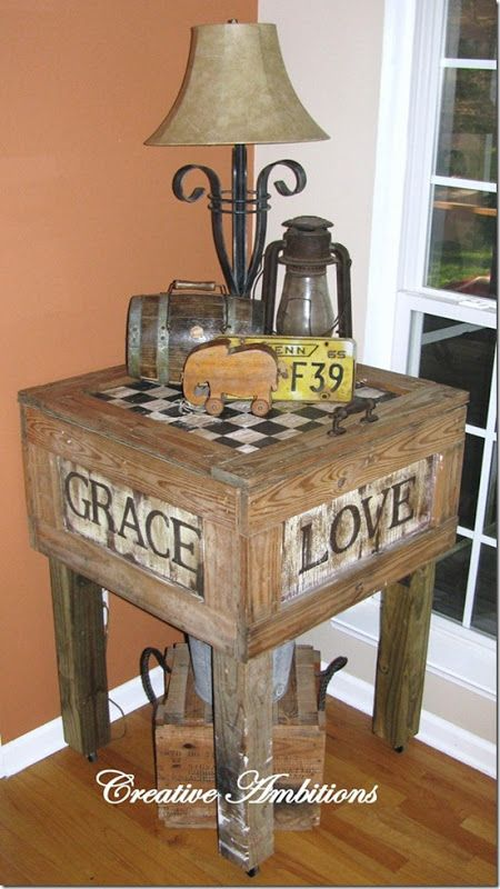 Cute primitive table made from shipping crate diy for Table made from crates