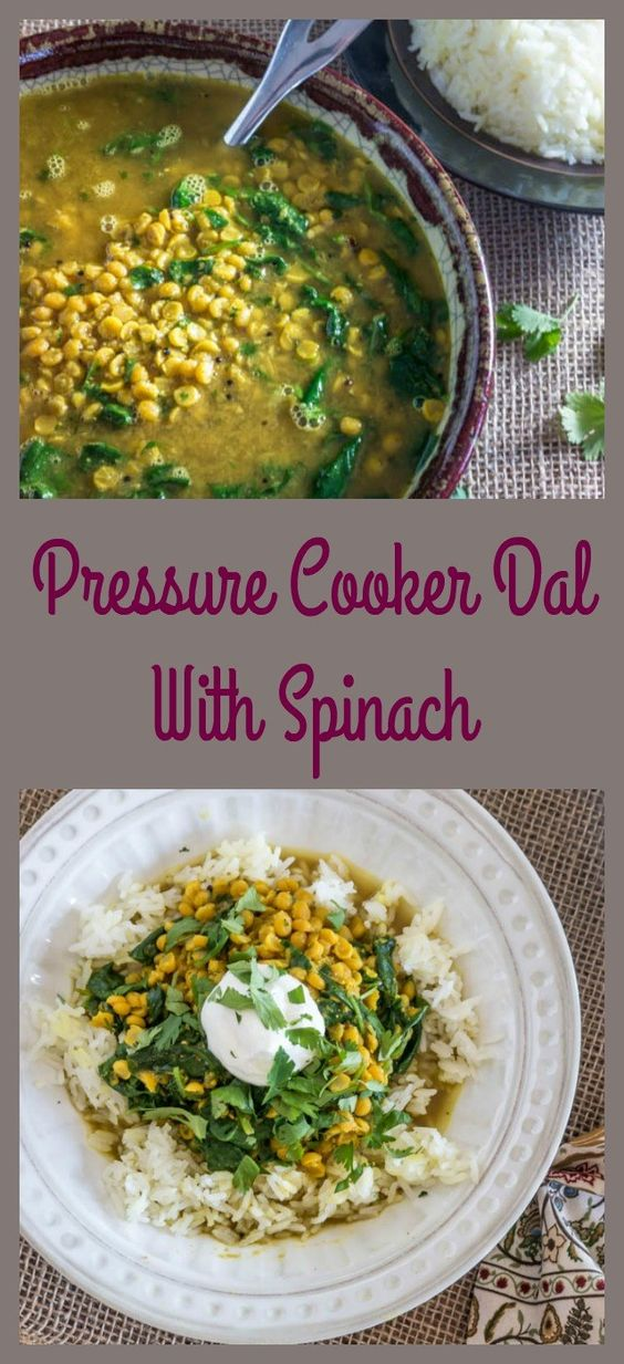 Pressure Cooker Dal With Spinach - A healthy, vegetarian chana dal with spinach... bursting with flavor and made quickly in the pressure cooker!