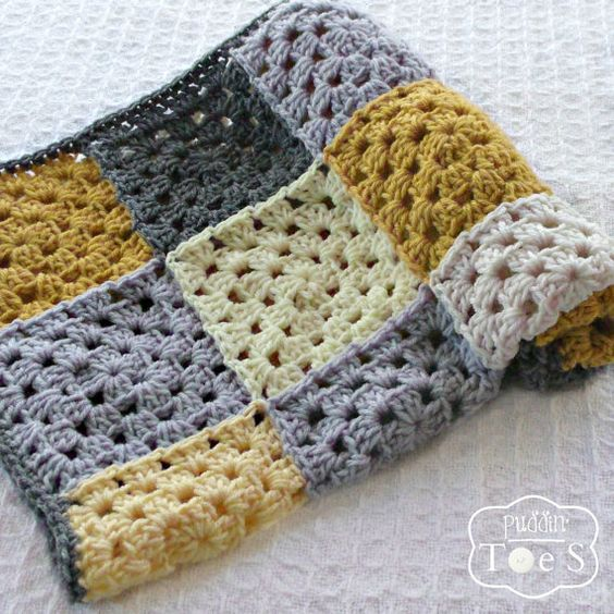 Gray And Yellow Baby Granny Square Blanket I Actually
