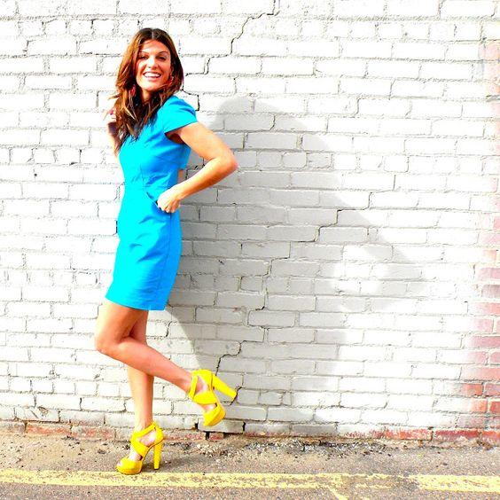 Blue Fashion Star Dress + Neon Yellow