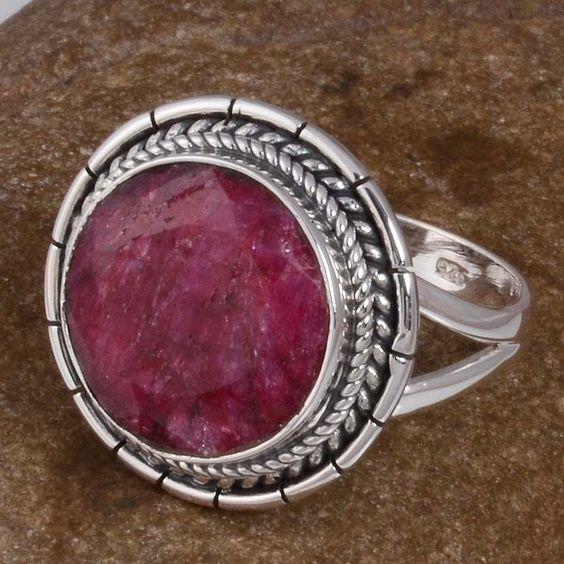FINE JEWELLERY 925 SOLID STERLING SILVER Ruby RING 6.35g DJR8479 S-7.75 #Handmade #Ring