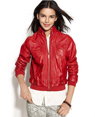 Calvin Klein Perforated Faux-Leather Bomber Jacket - Jackets ...