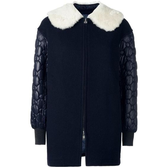 Tsumori Chisato raccoon fur collar coat (£920) ❤ liked on Polyvore featuring outerwear, coats, blue, blue dog coat, tsumori chisato, dog coats and blue coat