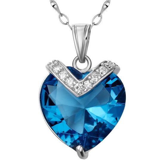 "10.4Ct Blue Topaz Heart Cut Pendant Necklace .925 Sterling Silver w/ 18"" Chain"