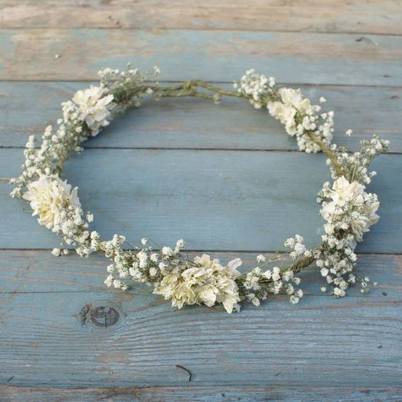 boho purity dried flower crown by the artisan dried flower company   notonthehighstreet.com