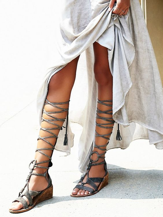 Saltarello Mini Wedge | Tall and strappy suede gladiator sandal ...