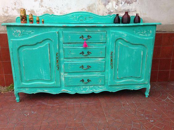 Mueble provenzal turquesa decapado muebles restaurados - Muebles de colores pintados ...