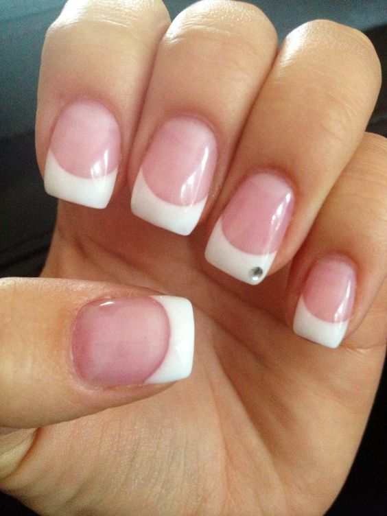 French Tip Gel Nails With Gem By Ocean Spruce Grove